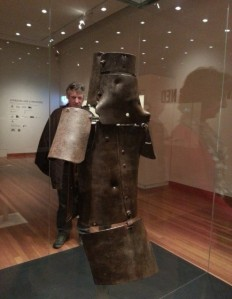 Fig 1: Ned Kelly's armour displayed at the Bendigo Art Gallery, 1880, steel, leather. State Library of Victoria. Photo collection of author